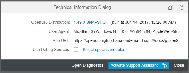 Technical Information Dialog